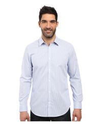 Calvin Klein | Blue Long Sleeve Infinite Cool Button Down Mini Check Shirt for Men | Lyst