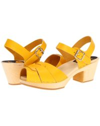 Swedish Hasbeens - Yellow Peep Toe Super High Sandals - Lyst