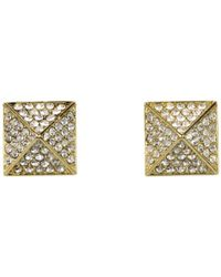 Vince Camuto - Metallic Gold Pave Pyramid Studs - Lyst