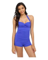 Seafolly - Blue Boyleg Malliot - Lyst