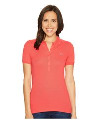 Lacoste | Pink Short Sleeve Slim Fit Stretch Pique Polo Shirt | Lyst