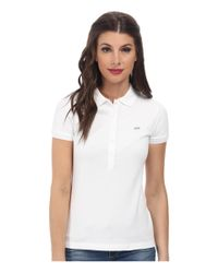 Lacoste | White Short Sleeve Slim Fit Stretch Pique Polo Shirt | Lyst
