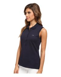 Lacoste | Blue Sleeveless Slim Fit Stretch Pique Polo Shirt | Lyst