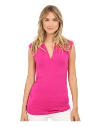 Vince Camuto - Pink Sleeveless Pleat V-neck Top - Lyst