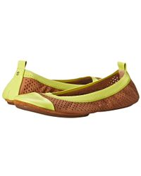 Yosi Samra | Yellow Samantha Perforated Leather Fold Up Flat With Cap Toe | Lyst