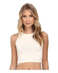 Free People | White High Neck Crop Cami | Lyst