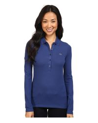 Lacoste   Blue Long Sleeve Stretch Pique Polo   Lyst