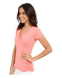 Mod-o-doc - Pink Slub Jersey Side Shirred V-neck Tee - Lyst