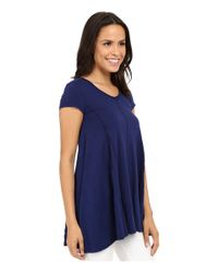 Mod-o-doc - Blue Slub Jersey Side Shirred V-neck Tunic - Lyst