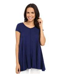 Mod-o-doc - Blue Slub Jersey Side Shirred V-neck Tunic - Lyst