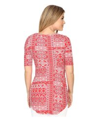 Mod-o-doc - Red Patchwork Tiles Printed Rayon Spandex Jersey Scoop Neck 3/4 Sleeve Top - Lyst