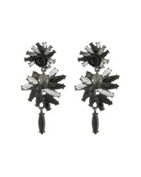 French Connection | Black Stone Statement Chandelier Earrings | Lyst