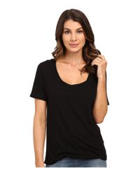 Splendid | Black Very Light Jersey Tucked Tee | Lyst