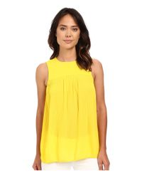 MICHAEL Michael Kors - Yellow Solid Pleated Top - Lyst
