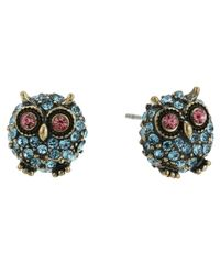 Betsey Johnson - Red Round Owl Stud Earrings - Lyst