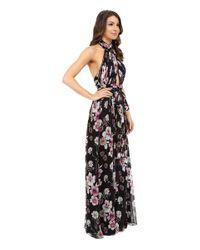 JILL Jill Stuart - Multicolor Collar Neck Front Cut Out Crinkle Chiffon Gown - Lyst