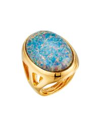 Kenneth Jay Lane - Polished Gold Open Side Blue Opal Cluster Ring - Lyst