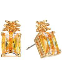 Betsey Johnson - Gray Calypso Pineapple Stud Earrings - Lyst