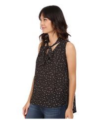 Free People | Black Sleeveless Tie Front Top | Lyst
