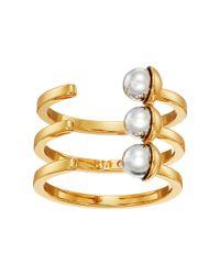 Rebecca Minkoff | Metallic Two-tone Bead Wrap Ring | Lyst