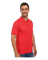 Calvin Klein | Black Short Sleeve Flat Knit Placket Cotton Tencel Polo for Men | Lyst