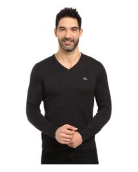 Lacoste | Black Segment 1 Cotton Jersey V-neck Sweater for Men | Lyst