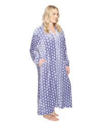 Carole Hochman   Blue Plus Size Velour Zip Robe   Lyst
