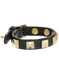 Rebecca Minkoff - Black Single Row Leather Bracelet With Pyramid Studs - Lyst