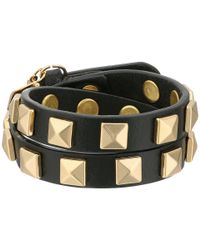 Rebecca Minkoff | Black Double Row Leather Bracelet With Pyramid Studs | Lyst