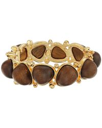 Kenneth Jay Lane | Brown Gold With Dark Wood Cabochons Bangle | Lyst