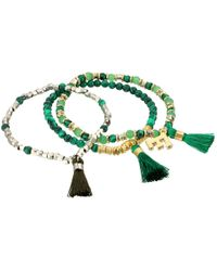 French Connection | Green Set Of 3 Semi-precious Bead With Tassel Stretch Bracelet | Lyst