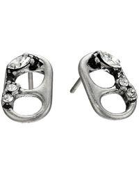 Marc Jacobs - Metallic Safety Pin Mini Strass Soda Lid Studs Earrings - Lyst