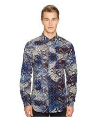Just Cavalli | Blue Python Tie-dye Print Shirt for Men | Lyst