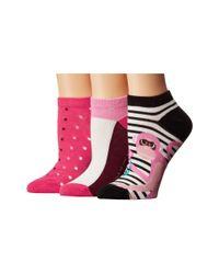 Kate Spade - Pink Stripe Monkey 3-pack No Show - Lyst