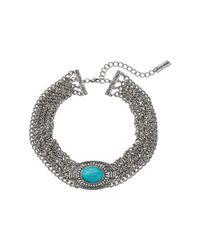 Steve Madden | Metallic Oval Turquoise Stone W/ Four Row Chain Choker Necklace | Lyst