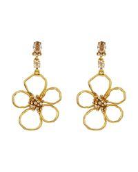 Oscar de la Renta - Metallic Flower C Earrings - Lyst