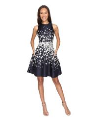 Donna Morgan | Blue Sleeveless Fit And Flare Poly Twill Dress | Lyst