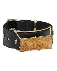 Alexis Bittar | Metallic Geometric Leather Band Buckle Bracelet With Custom Baguette | Lyst