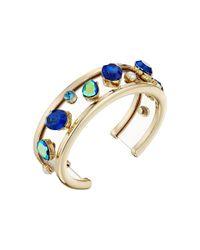 Betsey Johnson | Blue Mixed Multicolored Stone Cuff Bracelet | Lyst