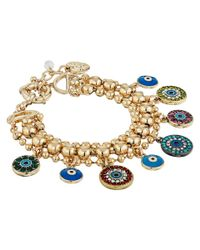 Betsey Johnson | Metallic Mixed Eye Charm Multi Row Bracelet | Lyst