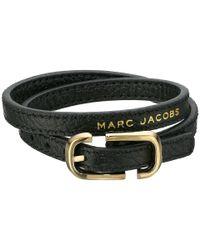 Marc Jacobs | Black Icon Buckle Double Wrap Leather Bracelet | Lyst