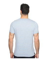 Kenneth Cole - Blue Short Sleeve Marled Stripe Henley for Men - Lyst