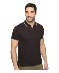 Kenneth Cole - Black Polo With Tipping for Men - Lyst