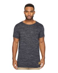 Scotch & Soda | Blue Long Fit Crew Neck Tee In Melange Jersey Quality for Men | Lyst