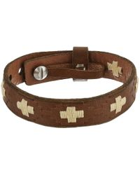 Fossil | Metallic Vintage Casual Cross-stitched Leather Bracelet | Lyst
