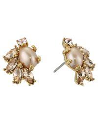 Marchesa - Metallic Crystal Glass Pearl Button Earrings - Lyst