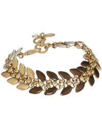 Lucky Brand - Metallic Tri-tone Leaf Link Bracelet - Lyst