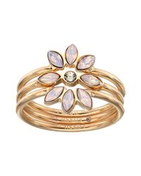 Fossil - Multicolor Vintage Glitz Rose Opal Stack Ring Set - Lyst