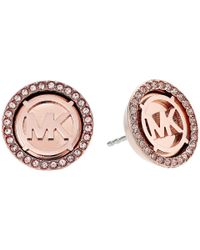 Michael Kors - Multicolor Mk Monogram Logo Pave Stud Earrings (rose Gold) Earring - Lyst
