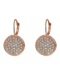 Vince Camuto - Metallic Rose Gold Pave Round Leverback Earrings - Lyst